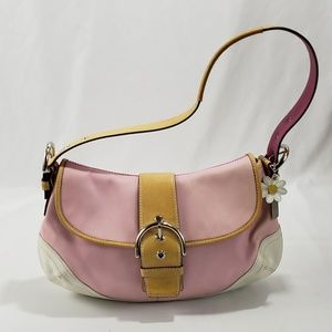 Coach Pink Leather Buckle Daisy Shoulder Purse